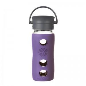 Cana termos de cafea din sticla LifeFactory, cu manson termoizolant, Violet 350 ml